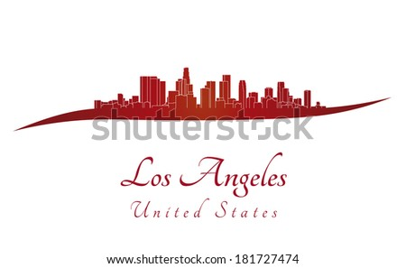 Los Angeles skyline in red - stock photo