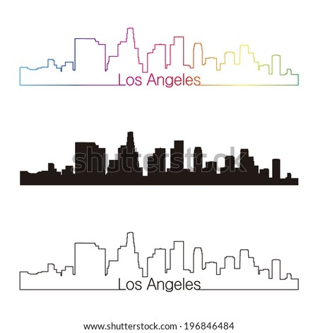 Los Angeles skyline linear style with rainbow - stock photo