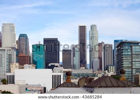 Los Angeles skyline on a sunny day. - stock photo