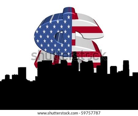 Los Angeles skyline with American flag dollar symbol illustration - stock photo