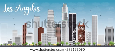 Los Angeles Skyline with Grey Buildings and Blue Sky - stock photo