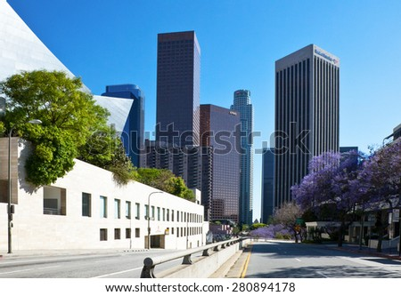 Los Angeles, U.S.A. - May 31 2011: Downtown, the Grand Av. towers