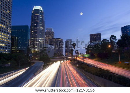 Los Angeles under the moonlight just after sunset