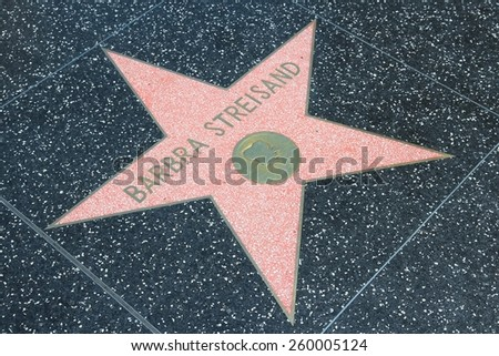 LOS ANGELES, USA - APRIL 5, 2014: Barbra Streisand star at famous Walk of Fame in Hollywood. Hollywood Walk of Fame features more than 2,500 stars with inscribed celebrity names. - stock photo