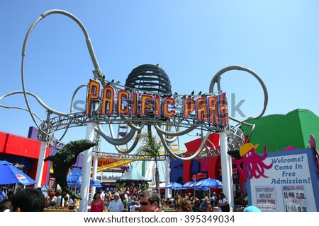LOS ANGELES, USA - AUG 15: The entrance to the Pacific Park on the Santa Monica beach. Pacific Park is an ocean front amusement park located in Santa Monica, California, Aug 15, 2007 - stock photo