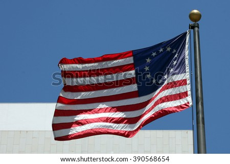 Los Angeles - USA - August 15, 2015 an American flag picture