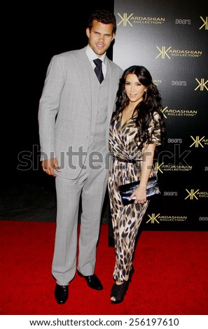 LOS ANGELES, USA - AUGUST 17: Kris Humphries and Kim Kardashian at the Kardashian Kollection Launch Party held at the Colony in Hollywood, USA on August 17, 2011. - stock photo