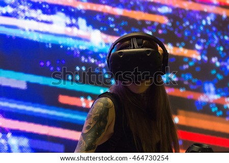 Los Angeles, USA - August 6, 2016: Virtual reality DJ system during VRLA Expo Summer, virtual reality exposition, at the Los Angeles Convention Center.