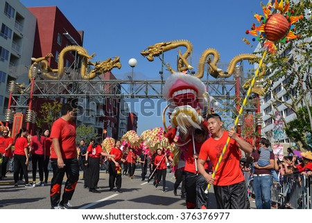 Los Angeles, USA - February 13, 2016: Chinese dragon during the 117th Golden Dragon Parade, celebrating Chinese New Year and the Year of the Monkey.