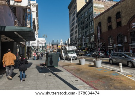 Los Angeles, USA - February 13: Downtown of Los Angeles, CA on February 13, 2016.