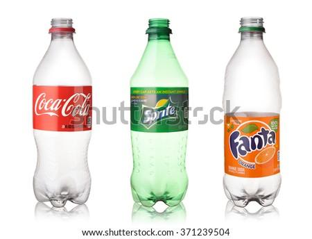 february 18 2016 empty coca cola sprite and fanta plastic bottles