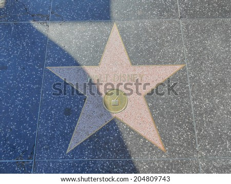 LOS ANGELES, USA - FEBRUARY 01, 2013: The Hollywood Walk of Fame in Los Angeles comprises over 2500 terrazzo brass stars embedded in the sidewalks of Hollywood Boulevard since 1958