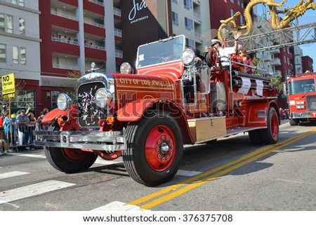 Los Angeles, USA - February 13, 2016: Vintage fire truck during the 117th Golden Dragon Parade, celebrating Chinese New Year and the Year of the Monkey. - stock photo