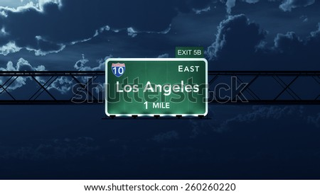 Los Angeles USA Interstate Highway Road Sign - stock photo