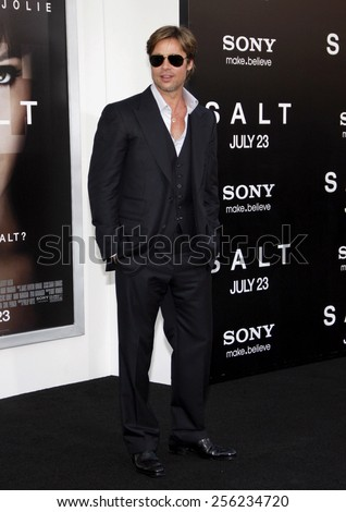 "LOS ANGELES, USA - JULY 19: Brad Pitt at the Los Angeles Premiere of ""Salt"" held at the Grauman's Chinese Theater in Hollywood, USA on July 19, 2010."