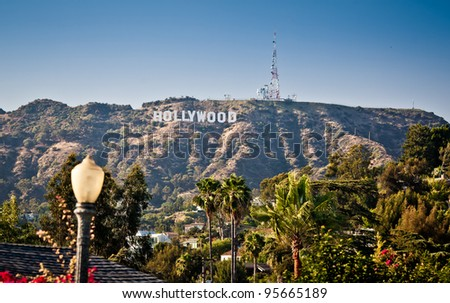 LOS ANGELES, USA - JULY 17: View of Hollywood sign on July 17, 2011 in Los Angeles, California. Sign is located in the Hollywood hills area of Mount Lee, built in 1923 - stock photo