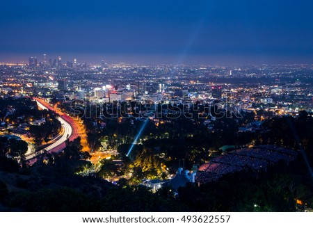 Los Angeles, USA - 6 July: View over LA skyline and the Hollywood Bowl during a performance
