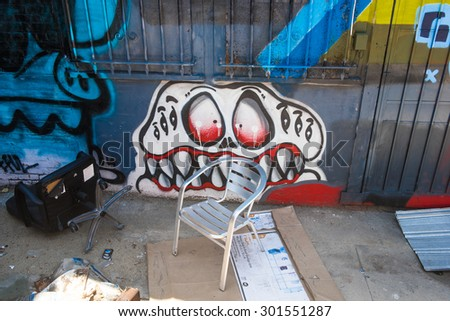 Los Angeles, USA - July 25: Wall graffiti on streets of west Los Angeles, CA on July 25, 2015.