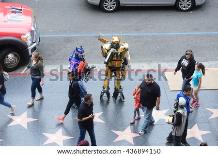 LOS ANGELES, USA - JUNE 11, 2016: Aerial view on famous Walk of Fame of Hollywood blvd with tourists and visitors  in Los Angeles, USA.  - stock photo