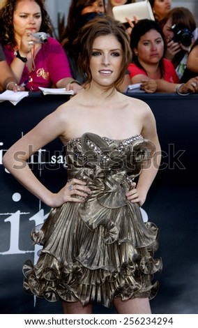 "LOS ANGELES, USA - JUNE 24: Anna Kendrick at the Los Angeles Premiere of ""The Twilight Saga: Eclipse"" held at the Nokia LA Live Theater in Los Angeles, USA on June 24, 2010. - stock photo"