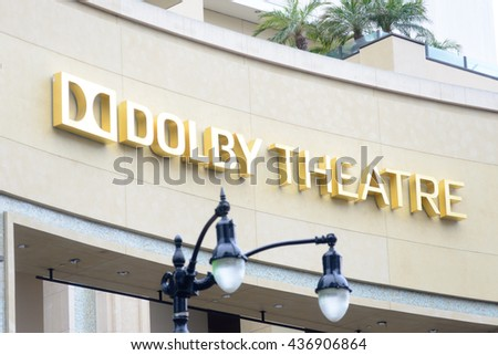 LOS ANGELES, USA - JUNE 11, 2016: Facade of the Dolby Theatre a famous landmark of Hollywood in Los Angeles, USA