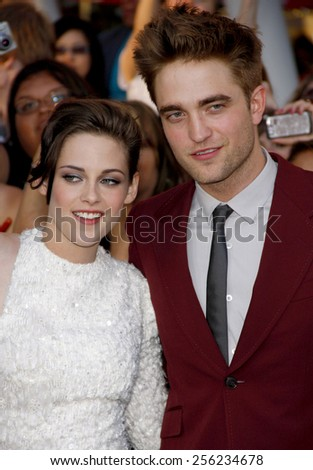 "LOS ANGELES, USA - JUNE 24: Kristen Stewart and Robert Pattinson at the Los Angeles Premiere of ""The Twilight Saga: Eclipse"" held at the Nokia LA Live Theater in Los Angeles, USA on June 24, 2010. - stock photo"