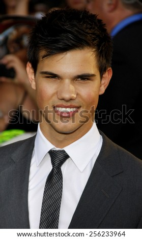 "LOS ANGELES, USA - JUNE 24: Taylor Lautner at the Los Angeles Premiere of ""The Twilight Saga: Eclipse"" held at the Nokia LA Live Theater in Los Angeles, USA on June 24, 2010. - stock photo"