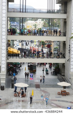 LOS ANGELES, USA - JUNE 11, 2016: The Hollywood and Highland Center is a shopping mall and entertainment complex at Hollywood Boulevard and Highland Avenue in Los Angeles, USA. - stock photo