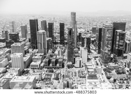 LOS ANGELES, USA - MAY 27, 2015: Aerial view of the skyline of Downtown Los Angeles in black and white.