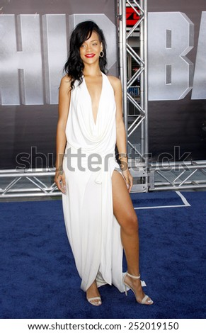 "LOS ANGELES, USA - MAY 10: Rihanna at the Los Angeles premiere of ""Battleship"" held at the Nokia Theatre L.A. Live, Los Angeles, USA on May 10, 2012. - stock photo"