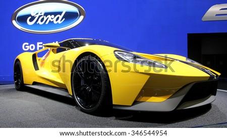 Los-Angeles, USA - Nov 18, 2015: Concept sport car Ford at the LA Auto Show on Nov 18, 2015 in LA, California - stock photo