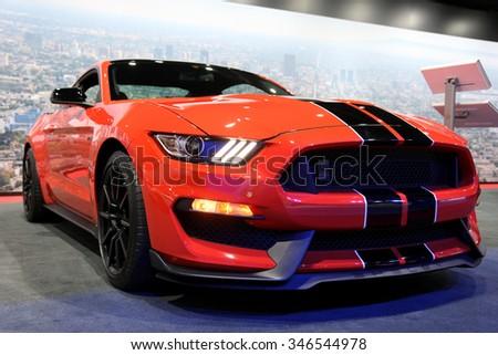 Los-Angeles, USA - Nov 18, 2015: Ford Shelby Mustang at the LA Auto Show on Nov 18, 2015 in LA, California - stock photo