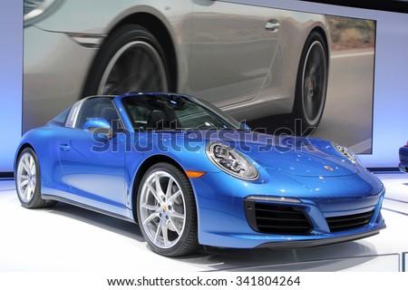 Los-Angeles, USA - Nov 19, 2015: Porsche targa at the LA Auto Show on Nov 19, 2015 in LA, California - stock photo