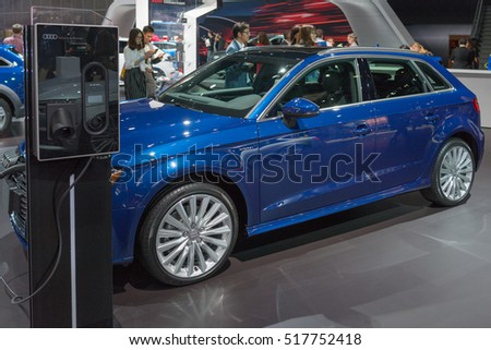 Los Angeles, USA - November 16, 2016: Audi A3 e-tron  electric car on display during the Los Angeles Auto Show.