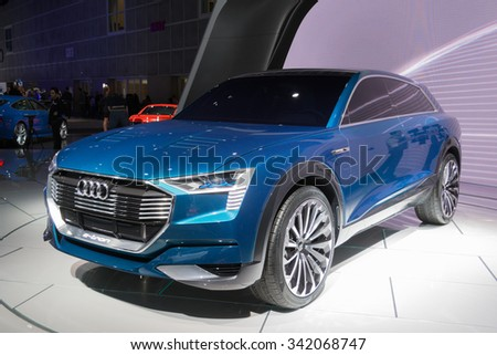 Los Angeles, USA - November 19, 2015: Audi e-tron Quattro Concept on display during the 2015 Los Angeles Auto Show.