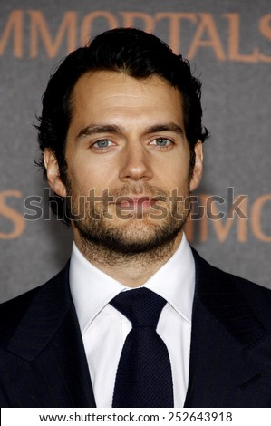 "LOS ANGELES, USA - NOVEMBER 7: Henry Cavill at the World Premiere of ""Immortals"" held at Nokia LA Live in Los Angeles, USA on November 7, 2011. - stock photo"