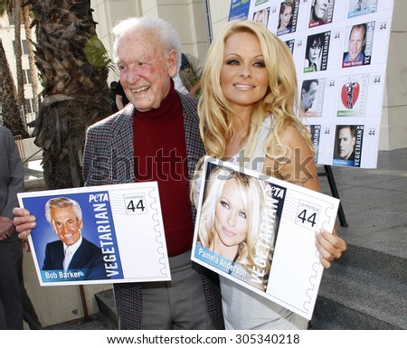 LOS ANGELES, USA - NOVEMBER 29, 2011: PETA Goes Postal: Pamela Anderson and Bob Barker Unveil Vegetarian Icons Postage Sheet held at the Hollywood Post Office in Hollywood, USA. - stock photo