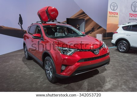 Los Angeles, USA - November 19, 2015: Toyota RAV4 XLE on display during the 2015 Los Angeles Auto Show.