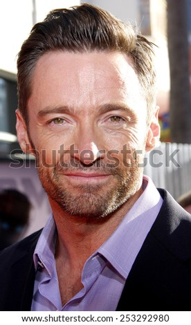 """LOS ANGELES, USA - OCTOBER 2: Hugh Jackman at the Los Angeles Premiere of """"Real Steel"""" held at the Gibson Amphitheatre in Universal City, USA on October 2, 2011. - stock photo"""