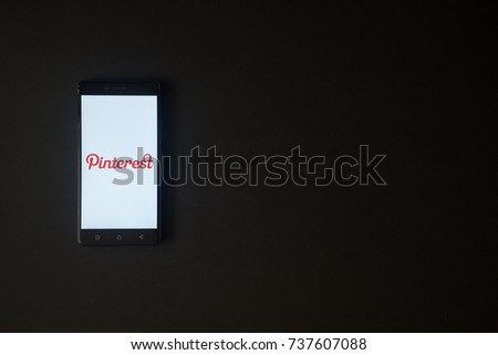Los Angeles, USA, october 19, 2017: Pinterest logo on smartphone screen on black background.