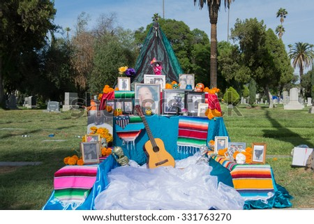 Los Angeles - USA - October 24, 2015: Traditional Mexican altar installation durting the Day of the Dead Festival (Dia de Los Muertos ) at Hollywood Forever Cemetery.