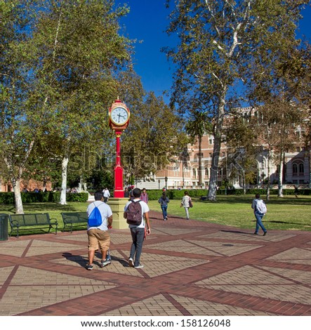 LOS ANGELES,USA - October 1: Unidentified students on the campus of the University of Southern California. October 1, 2013. - stock photo