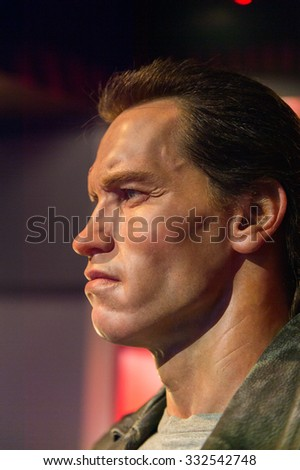 LOS ANGELES, USA - SEP 28, 2015: Arnold Schwarzenegger as the Terminator in the Madame Tussauds Hollywood wax museum. Marie Tussaud was born as Marie Grosholtz in 1761