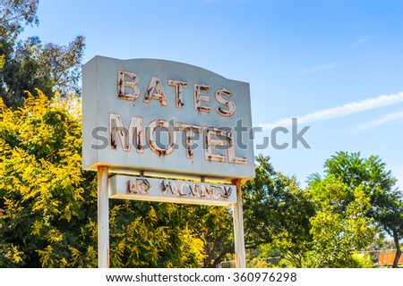 LOS ANGELES, USA - SEP 27, 2015: Bates Motel at the Universal Studios Hollywood Park. Psycho is a 1960 American horror-slasher film by Alfred Hitchcock starring Anthony Perkins - stock photo