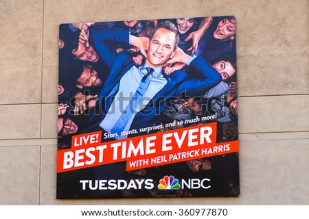 LOS ANGELES, USA - SEP 27, 2015: Best Time ever Poster at Hollywood Universal Studios. Universal Pictures company was created on June 10, 1912 - stock photo