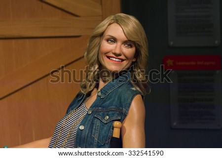 LOS ANGELES, USA - SEP 28, 2015: Cameron Diaz in  Madame Tussauds Hollywood wax museum. Marie Tussaud was born as Marie Grosholtz in 1761