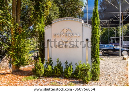 LOS ANGELES, USA - SEP 27, 2015: Car at the Hollywood Universal Studios. Universal Pictures company was created on June 10, 1912 - stock photo
