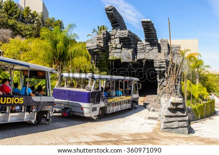 LOS ANGELES, USA - SEP 27, 2015: Decoration for the King Kong movie at the Universal Studios. King Kong is a 2005 epic adventure monster film by Peter Jackson - stock photo