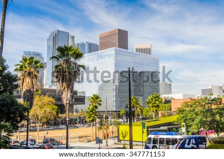 LOS ANGELES, USA - SEP 28, 2015: Downtown of Los Angeles, California. Los Angeles hosted the Summer Olympic Games in 1932 and 1984