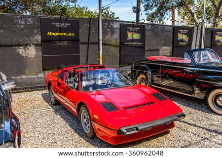 LOS ANGELES, USA - SEP 27, 2015: Ferrari 308 at the Hollywood Universal Studios. Universal Pictures company was created on June 10, 1912 - stock photo